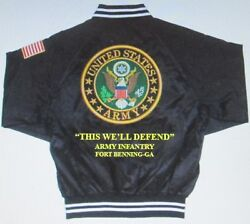 Army Infantry Fort Benning-ga Army Embroidered 2-sided Satin Jacket