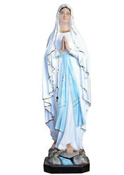 Our Lady Of Lourdes 4,17 Feet Fiberglass Statue With Eyes Of Glass Blue