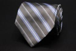 Brooks Brothers 346 Silk Tie. Gray With Blue And White Stripes.