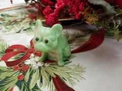 Solid Glass Mint Julip Green Jadeite French Bulldog Dog Rhinestone Eyes Figurine