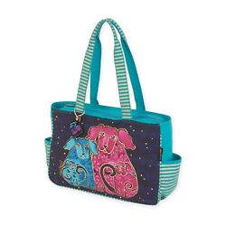 Laurel Burch Blossoming Puppy Teal Fuschia Medium Tote side Pockets HandBag NWT $43.95