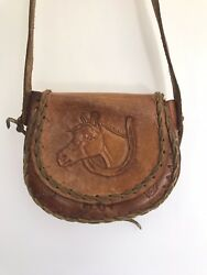 Vintage Kids Crossbody Bag hand Tooled Leather
