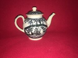 Lc2 Staffordshire Pearlware Transfer Trees Man Spear Teapot Ca. 1790's