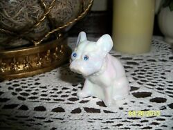 Mother of Pearl French Bulldog Dog Blue Rhinestone Eyes Figurine Glass