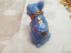 Glass French Bulldog Delphite Blue Handpainted Collar & Roses Signed Figurine