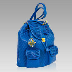 Valentino Orlandi Italian Designer Maldives Blue Quilted Leather Backpack Bag