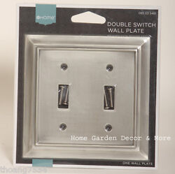 Brushed Satin Pewter Double Light Switch Wallplate Wall Plate Outlet Cover