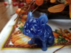 Periwinkle Opal ? Blue Solid Glass French Bulldog Rhinestone Eyes Figurine