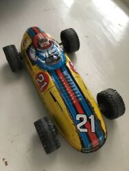 Vintage Rare Rally Sport Champion And Stp Ad Japanese Tin Toy Car Race Formula 21