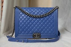 VERIFIED Authentic Chanel Periwinkle Blue Quilted Leather Large Boy Flap Bag