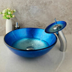 Tempered Glass Vessel Bathroom Round Basin Sink Bowl+waterfall Faucet Combo Set
