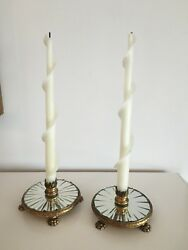 Beautiful Pair Of Gold Metal Claw Feet Acanthus Leaf Mirror Candlesticks
