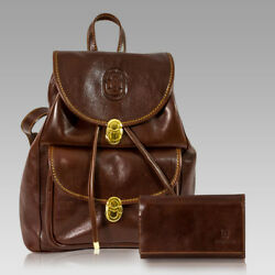Marino Orlandi Designer Chestnut Leather Oversized Rugged Backpack
