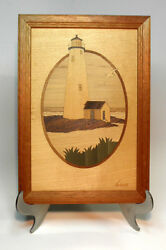 Vintage Hudson River Inlay Marquetry Nantucket Lighthouse Wood Artwork Nelson