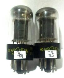 2 Matching Raytheon 6sn7 Gta D Getter Vacuum Tubes Tested New On Calibrated Tv7