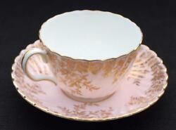 Vintag Minton Gold Globe Stamp Bone China England Garden Pinks Flat Cup And Saucer