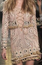 Emilio Pucci Long Sleeve Embroidered Lace Up Leather-trimmed Dress W/tagswow