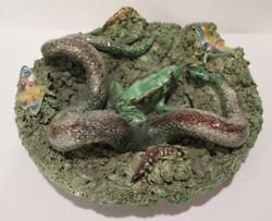 Antique Palissy Majolica Dish Jose Cunha Signed Snake Frog Moth Caterpiller