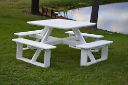 Aandl Furniture Co. 44 Amish-made Square Poly Walk-in Picnic Tables With Benches