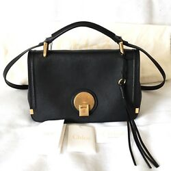 Chloe Indy Black Leather handbag  Double carry satchel  Made in Italy