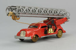 Antique Tin Toy Rare Pre War Germany Fire Engine Truck Great Piece