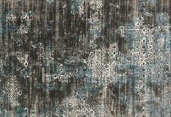 12and039x15and039 Loloi Rug Kingston Polypropylene | Viscose Charcoal Blue Machine-made Tr