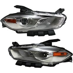 Headlight Set For 2013-2016 Dodge Dart Left And Right Chrome Housing Hid 2pc