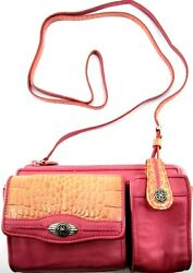 Brighton Women Handbag Silver Plated Buckles Fabric Lined Pink 26 In Strap Drop