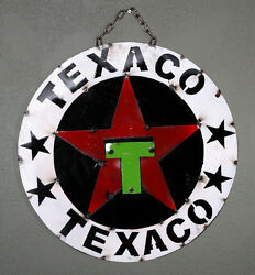 Metal Texaco Gasoline Sign Gas Oil Garage Man Cave Home Decor Recycled Hot Rod