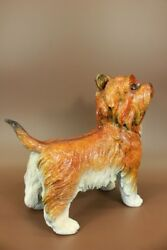 Special Patina Signed Moigniez Silky Terrier Dog Bronze Sculpture Statue Figure