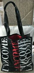 Lancome Signature Black and Red Vinyl Tote Shopping Beach Bag Brand New!!