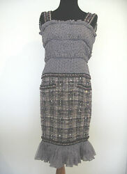 CHANEL Collector's Dress Tweed Sillk Ruffles Stars GORGEOUS!! Size 34