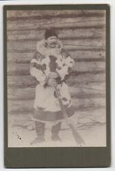 1890s Western Cabinet Photo Of Man In Fur Coat By Cabin Holding Winchester Rifle