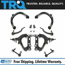 TRQ 10 pc Steering & Suspension Kit Control Arms Tie Rods Sway Bar End Links New