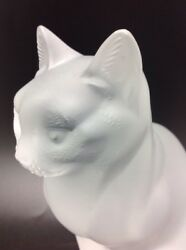 Lalique France Crystal Sitting Cat 8 14 Tall Signed Frosted Glass Figurine