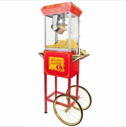 Red Carnival Theater Home Style 8 Oz Vintage Popcorn Popper Maker Machine Cart