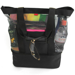 Aruba Mesh Beach Tote Bag with Zipper Top and Insulated Picnic Cooler and FREE B
