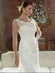 Wedding Gown And Veil Ivory Lace Antique Gold Underlay Size 18 Clean And Boxed