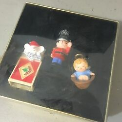 Vintage Hallmark Tree Trimmer Collection Ornament Mouse Matchbox Walnut Thimble