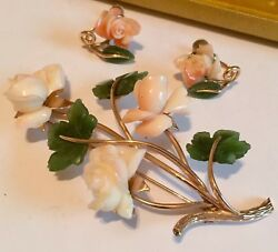 14k Gold Coral And Jade Flower Brooch Pin And Earrings Lot Orig Box 36 Grams