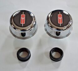 Chrome Valve Cover Breathers And Grommets Oldsmobile Red/black Logo Set 4 Pieces