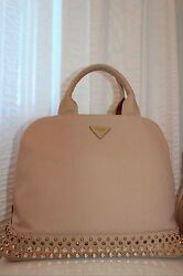 PRADA Garden Canvas Tote Studded Crystal Embellished Trapeze Bag Rare SOLD OUT