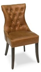 37 H Set Of Two Side Chair Solid Oak Wood Dark Brown Italian Leather