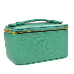 Auth CHANEL CC Vanity Cosmetic Hand Bag Pouch Green Caviar Skin Leather AK10604