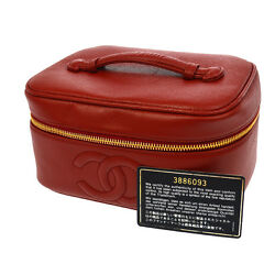 Auth CHANEL CC Vanity Cosmetic Hand Bag Pouch Red Caviar Skin Leather G02861