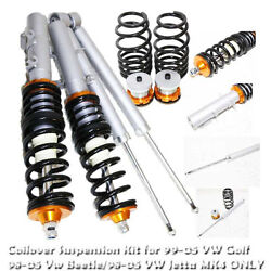 Coilover Suspension Lowering Kit Gold For 1998-2005 Vw Beetle Mkiv Mk4 Only