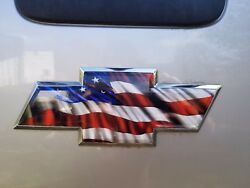 Chevy And Ford Emblem American Flag Vinyl Wrap Overlay - 2 Sheets Usa Decal