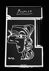 S.t. Dupont Ligne 2 Picasso Lighter Black Lacquer 16105 016105 New In Box