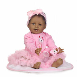 22 Reborn African American Baby Doll Sweet Pink Silicone Indian Black Girl Toys