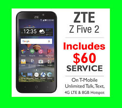 New Simple Mobile Zte Z Five 2 4g Prepaid Smartphone + 60 Unlimited Lte Plan